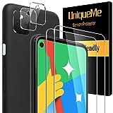 [4 Pack]UnqiueMe 2 Pack Schutzfolie Kompatibel mit Google Pixel 4a 5G(Nicht kompatibel mit 4a 4G) und 2 Pack Panzerglas Kamera Schutz,[Blasenfrei]HD klar Folie gehärtetes Glas Displayschutz