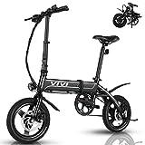 VIVI Ebike Faltrad, 350W Pedelec Elektrofahrrad Damen Herren, 14 Zoll Klappfahrrad E-Bike Leichtes Elektro Klapprad 7.8Ah Lithium-Ionen-Akku Citybike (14 Zoll - Schwarz)
