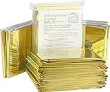 Medi-Inn Rettungsdecke gold silber | 160 x 210 cm | Notfalldecke für Erste Hilfe | Kälteschutz | Hitzeschutz (10 Stück)