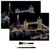 H HOMEWINS Kratzbilder 405 x 285 MM Weltberühmte Sehenswürdigkeiten Wandbild DIY Kunst Zeichnung City Night View Schwarz Beschichtet Bunte Kratzpapier mit Werkzeug Set (Tower Bridge)