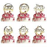 6 Pcs Happy Birthday Cake Topper, Gold Geburtstag Kuchen Topper/Tortenstecker für Geburtstagsdeko, Acryl Cupcake Topper für Kindergeburtstag Baby Shower Tortendeko/Kuchendeko Glitzer Party Dekoration