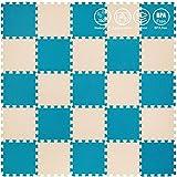 Bodenschutzmatte - 24 Schaumplatten | Baby Awakening-Teppich | Puzzle Matratze für Fitnessgeräte Gym Weiß Beige Weißes Gewicht-25 stücke 30 * 30 * 1 cm_2 Beige, Indigo Naturalis (dunkelgrün)