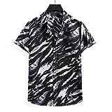Strandhemd Herren Atmungsaktiv Kent-Kragen Herren Shirt Druck Knopfleiste Kurzarm Herren T-Shirt Mode Persönlichkeit Hawaii Surf Camping Herren Freizeitshirt YC02 XXL