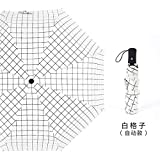 DJMJHG Großer Golfschirm Schwarz-Weiß-Gitter Sonnenschirm Regenschirm Regen Frauen Windproof Fold Automatic UmbrellaWeiß