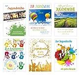 Edition Seidel Set 6 Premium Karten zur Jugendweihe mit Umschlag (Doppelkarten/Klappkarten mit Briefumschlag) Karte Postkarte Jugendweihekarten (6er Set Jugendweihe)