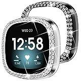 DABAOZA Kompatibel mit Fitbit Sense/Versa 3 Uhrengehäuse, [2 Stück] Bling Glänzend Frauen Mädchen elegante Kristall Diamanten PC Schutz Bumper Watch Cover Hüllen für Sense/Versa3 (Silber + Schwarz)