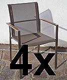 ASS 4Stk Designer Gartenstuhl mit Armlehne Kuba-BRAUN Gastroqualität Stapelsessel Gartensessel Stapelstuhl Sessel Edelstahl Batyline Textilene Teak stapelbar sehr rob