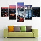 SHINERING Foto, Wanddekoration, Haus, 5-teilig, Salt Lake City Temple Building Nachtsicht, Leinwand, modular, HD-Kunstdruck, kein Rahmen