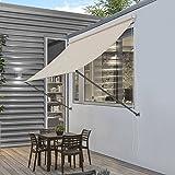 pro.tec] Markise 350 x 120 cm in Sandfarben Witterungsbeständig Sonnenschutz Beschattung Terrasse G