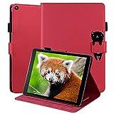 OKZone Hülle für Amazon Fire HD 10 Tablet (9. und 7. Generation - 2019 und 2017), Folio Kunstleder Schutzhülle mit Standfunktion, Slim Cover Lightweight Schutzhülle Tasche mit Standfunktion(Rot)