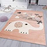 VIMODA Kinderteppiche Herzen mit Ballons Elefant | Kinderteppich für Mädchen und Jungs | Teppich für Kinderzimmer | Schadstofffrei, Maße:120x170 cm