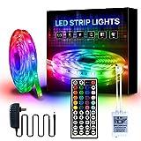 YMXLJJ 5M (16,4ft) RGB LED-Farbwechsel-Lichtstreifen, LED-Lichtstreifen mit Fernbedienung, Mehrfarbige Stimmungslichter für zu Hause, 5050 LED-Bandlichter, Farbwechsel-LED-Streifenlichter,A44 1