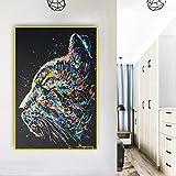 Kunstdruck auf Leinwand mit Aquarell-Katzengesicht, 50 x 70 cm, ohne Rahmen