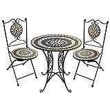 Wohaga 3tlg. Sitzgarnitur Mosaiktisch Ø60cm + 2 Mosaikstühle Klappstühle Gartengarnitur Bistrogarnitur Sitzgruppe Gartenmöbel Balkonmöbel Terrassenmöbel