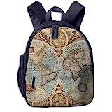 Kinderrucksack Detaillierte Weltkarten Geographie Babyrucksack Süßer Schultasche für Kinder 2-5 Jahre