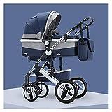 YXCKG Klappbarer Kinderwagen, Leichter Kinderwagen Für Neugeborene, Hohe Landschaft Für Kinderwagen, Reisewagenwagen Mit Muttertasche, 2-in-1-Storller Mit Korb, 5-Punkt-Geschirr (Color : Blue)