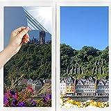 N/V Spiegelfolie Reflektierende Selbstklebend Scheibenfolie Fenster Anti-UV Wärmeisolierung Sonnenschutzfolie Innen Fensterfolie UV-Schutz für Dachfenster Hause Badzimmer Büro Silber(60 x 200 cm)