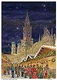 Sellmer Adventskalender, München Rathaus, Marienplatz, Papier-Adventskalender A3 mit Glimmer