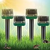 Vivibel 4er Solar Maulwurfabwehr, Ultrasonic Solar Maulwurfschreck mit IP56 Wasserdicht, Wühlmausschreck, Mole Repellent, Maulwurfbekämpfung, Wühlmausvertreiber, Schädlingsbekämpfung für Den Garten