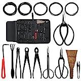 Audeuk Bonsai-Werkzeug-Kit 100-teiligesSet Carbonstahl, inkl. Cutter, Schere & Draht, Gartenwerkzeuge, Nylontasche