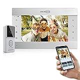 JSLBTech Wired IP Video Türklingel mit Kamera Gegensprechanlage,10' WLAN Monitor WiFi Türsprechanlage Intercom System,Unterstützung Echtzeit-Sprechen/Nachtsicht/APP Remote Steuerung für iOS&Android