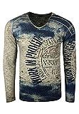 Rusty Neal Longshirt Herren Langarm Shirt mit ausgefallenem All Over Print Verwaschen 109, Größe S-6XL:L, Farbe:Khak