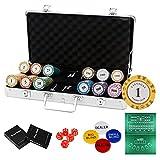 LJ Ultimate Pokerset mit Chips/ 2 Poker Set/ 5 Würfel/Koffer/Spieltuch/ 1 Dealer Buttons/2 Blindbuttons/1 All IN Buttons, Pokerset Koffer Profi für Pokerspiel (300 PCS)