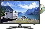 Reflexion LDDW200 Wide-Screen LED-Fernseher (20 Zoll) für Wohnmobile mit DVB-T2 HD, DVD-Player, Triple-Tuner und 12 Volt KFZ-Adapter (12 V/24 V, Full HD, HDMI, USB, EPG, CI+, DVB-T Antenne), Schwarz