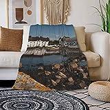Islay_Laphroaig Luxuriöse weiche und gemütliche Schafwolldecke für Herbst Winter und Frühling, 203 x 152 cm