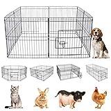 xiaoxiaoya Freilaufgehege Für Kleintiere Auslauf,Welpenauslauf Laufgitter Welpenfreigehege Hundegehege Laufstall Mit Tür Zaun Gitter Welpen Hasen Kaninchen,61X61CM