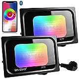 Sylstar 2 Pack RGB+CW LED Strahler Außen, 30W Smart LED Fluter Bluetooth APP Steuerung, 3000LM IP66 Wasserdicht Spotlicht für draußen mit 16 Millionen Farben, Dimmbar, Timing, Gruppierung, Musik Sync