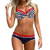 OverDose Damen Padded Push-Up-BH Dreieck Bedruckte Schlinge Bikini Set Badeanzug Badeanzug Bademode Beachwear Badeanzüge (M, U-dunkelblau)