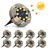 Solarleuchten, GLIME Solar Bodenleuchte 8er Set Gartenleuchte für Außen mit 8 LEDs, IP65 Wasserdicht Warmweiß Solarlampe Deko für Rasen, Auffahrt, Gehweg, Patio, G