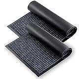Unibloom Fußmatte 2er Set – Fussmatte für den Innen- und Außenbereich im gerippten Design - 76x43cm Schmutzfangmatten mit Gummi-Unterseite – Fußabtreter für Innen & Aussen - schwarz/grau