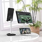 Handy-Ständer, iPhone-Ständer, winkelhöhenverstellbar, Handy-Ständer für den Schreibtisch, kompatibel mit allen Handys, iPhone, iPad, Tablet (schwarz)