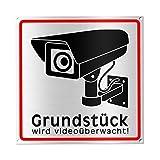 Achtung Videoüberwachung Schild - Hinweisschild - Warnschild für Kameraüberwachung - Gebürstetes Aluminium - 15x15 cm (Metall) (1 STK. Achtung Videoüberwachung)