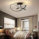 LED Deckenleuchte Schlafzimmer Deko Deckenlampe Modern Chic Design Schwarz Kronleuchter Wohnzimmerlampe Dimmbar Küchen Esszimmer Decken Pendelleuchte Esstisch Badezimmer mit Fernbedienung Leuchte