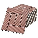 NAIZY Balkon Bodenbelag 30x30cm Balkonfliesen Klicksystem WPC Terrassen Kunststoff in Holz-Optik Zusammenbaubar für Garten Balkon Terrasse (22er Set für 2m², Braun)