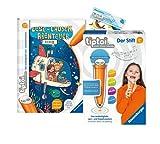 tiptoi Ravensburger Set: Lese-Lausch-Abenteuer | Tiefsee (Kinderbuch) + 00801 Der Stift - mit Aufnahmefunktion + 1x Create-Sticker