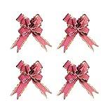 FSSTUD 10 Stück Glänzend Geschenkschleifen Ziehschleifen Geschenk Deko Schleifen Geschenkband für Geschenke Tüten Rot