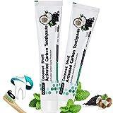 Aktivkohle Zahnpasta -Schwarze Zahnpasta -Natürliche Zahnaufhellung -Kokosnuss Aktivkohle Zahncreme -Kohle Zahnpasta -Charcoal Zahnpasta -Charcoal Toothpaste -für Weiße Zähne 2Stück