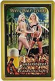 Tin Sign Blechschild 20x30 cm Wer Bier trinkt unterstützt die Landwirtschaft lustiger Spruch Pin up Girl Bar Kneipe Pub Cafe Haus + Garten Deko