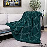 CAMPIR Sherpa-Überwurf, weich, bequem, Plüschdecke für Sofa, Couch, Bett, Smaragdgrün, 129,5 x 160 cm