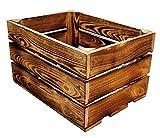 MigiEinkauf 1 Stück Neue Holzkisten Obstkisten Apfelkisten Weinkiste 40x30x23,5 cm TOP (Geflammte)