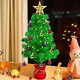 Kazeila Künstlicher Mini-Weihnachtsbaum mit Stern-Baumspitze, LED-Licht, Stoffbeutelboden und Ornamenten, 58,6