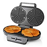 YFGQBCP Waffelhersteller Eisen, 1200W 220V Doppel Herzform Waffelmaschine mit Antihaftplatten & Einstellbarer Temperaturregelung für Küche