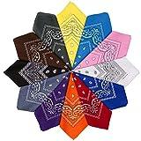 HBselect 6-12er Bandana Kopftuch mehrfarbige und multifunktionale Tücher als Halstuch aus 100% Baumwolle mit original Paisley Cashew Muster 51×51 cm
