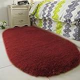 Nihlsen Ellipse weicher Wollteppich 40 * 60 cm Bequemer modischer, nach Hause verdickter Wollteppich für das Wohnzimmer im Schlafzimmer