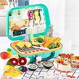 GAOXIAOMEI Küchenspielzeug für Kinder,Küchen Spielzeug Rollenspiele mit Obst Gemüse Lebensmittel vielen Funktionen Kochspielzeug Pädagogisches Lernen Spielzeug ab 3 4 5 Jungen Mädchen,Grün