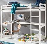 HOMELINE Kinder Hochbett mit Schreibtisch Etagenbett massiver Kiefer 90x200 cm (Weiss)